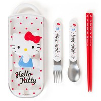 Hello Kitty Relief Lunch Trio Cutlery Fork Spoon Chopsticks Sanrio Japan - VeryGoods.JP