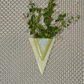 Triangular Wall Pocket Vase in Vanilla, Light Amber and Dichroic Fused Glass, Pocket Vase