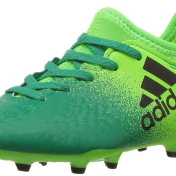 adidas Kids' X 16.3 Firm Ground Soccer Cleat Solar Green/Black/Core Green Little Kid (