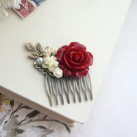Dark Large Red Rose, Ivory Flowers, Pearl, Brass Leaf Hair Comb. Bridesmaid Gifts. Red Vintage Inspired Rustic Winter Wedding. Bridal Comb