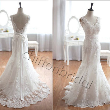 Taffeta lace wedding dress long train wedding dress bridal dress lace wedding gown mermaid bridal gown dress for wedding evening dress prom