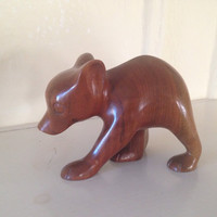 Rosewood Bear Cub Cherokee Hand Carved Wood Figurine Statue Signed DJ Smith