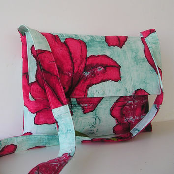 Messenger Bag in Red Poppy and Aqua by jazzygeminis on Etsy