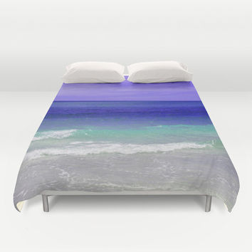 Royal Blue Sea - Duvet Cover, Coastal Ocean Bed Blanket, Beach Surf Waves, Throw Cover Bedroom Decor. Available in Full / Queen / King Size