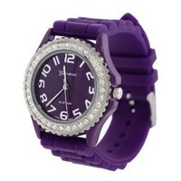 Purple Silicone Gel Ceramic Style Band Crystal Bezel Women's Watch: Watches: Amazon.com