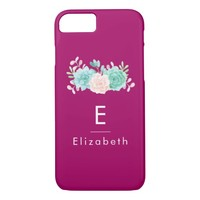 Pastel Pink & Green Floral Bouquet on Magenta Back iPhone 8/7 Case