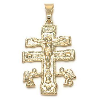 Gold Layered 05.32.0061 Religious Pendant, Crucifix and Angel Design, Polished Finish, Golden Tone