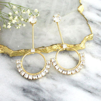 Bridal Earrings, Ear Jacket Earrings, Bridal Crystal Earrings, Swarovski Ear jacket Earrings, Back Front Earrings, Floating Brida Earrings