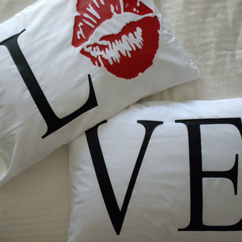 Valentines Day LOVE pillow cases LOVE pillowcases Kiss by uVinyl