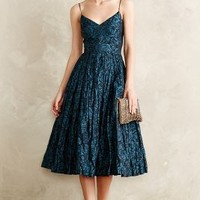 Glinted Taffeta Midi Dress by Tracy Reese Blue Motif
