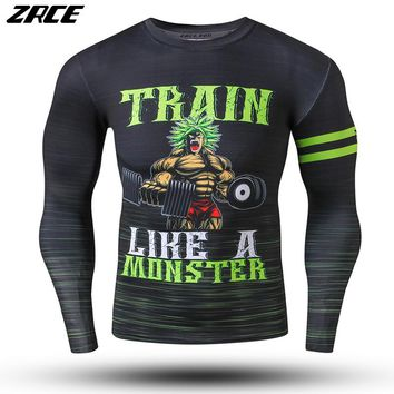 ZRCE Brand Clothing Men Compression Shirt Long Sleeve Dragon Ball Fitness Hip Hop Clothing 3d Workout Causal Tee Shirt Homme