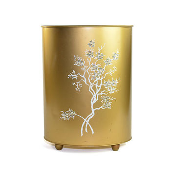 Gold Metal Trash Can - Lovely White Painted Tree, Rhinestone Sparkle Flower Details - Bedroom or Bathroom Retro Storage Bin - Vintage Home