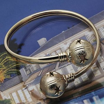 Gold Layered Women Ball Individual Bangle, One size fits all by Folks Jewelry