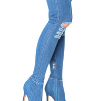Miss Circle Super Stretchy Denim Over knee High Heel Boots