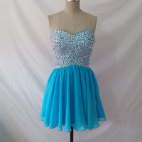 Sweetheart Open Back Sequins Sky Blue Homecoming Dress