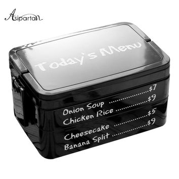 Asipartan Lunch Boxs 2 Layeres Japanese Style Food Container Bento Box Portable Sushi Container Plastic Microwave Food Storage