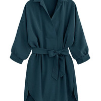 Dark Green Tied Waist Dipped Shirt Dress