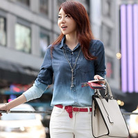 Summer Women's Denim Gradual Blue Jeans single-breasted Long Sleeve Shirt Blouse = 1930202372