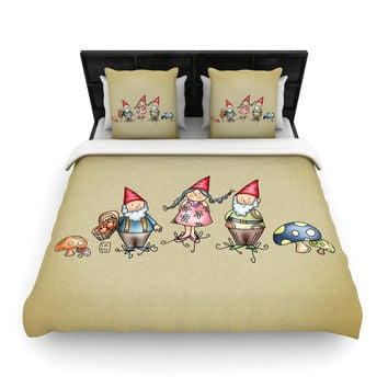 "Carina Povarchik ""Gnomes"" Brown Multicolor Woven Duvet Cover"