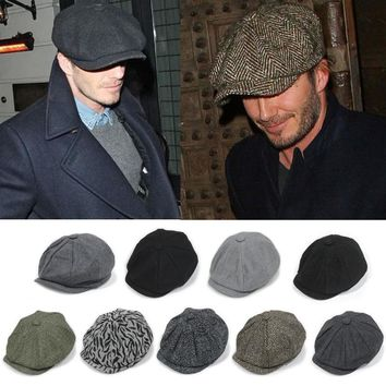 David Beckham Fashion Gentleman Octagonal Cap Newsboy Beret Hat Autumn And Winter For Men's Male Models Flat Caps Driving