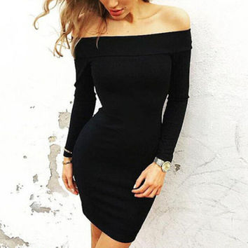 New Autumn Winter Long Sleeve Dress Female Off Shoulder Mini Dresses Fashion Women Clothes 112