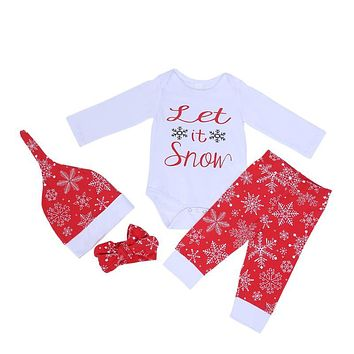 4pcs Christmas Baby Clothes Unisex Newborn Long Sleeve Snowflake Print Jumpsuit + Pants +Hat + Headband Outfits Suit