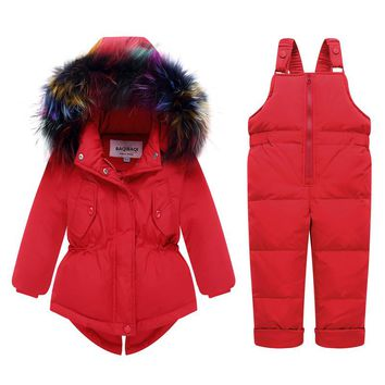-30 Degree Baby Snowsuit Natural Fur Down Jacket+Jumpsuit White Duck Down Toddler Girls Boys Skiing Suit Thick Outwear Coat Z156