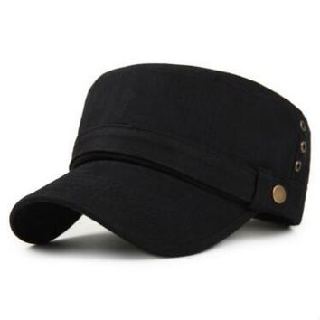 Sports Hat Cap trendy  Adult Men Cotton Material Flat Top Hat Summer Outdoors Casual Fashion Adjustable Retro s Western Style Baseball Caps KO_16_1