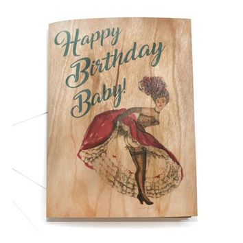 Wood Folding Card Happy Birthday Baby