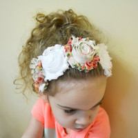 Shabby Chic Flower Crown, Vintage Floral Print, White Flower Crown, Kids Flower Crown, Flower Headband, Shabby Chic Headband, Kids Headband
