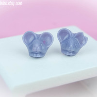 Kawaii Fairy Kei Pastel Goth Tiny Mouse Resin Stud Post Earrings in Pastel Purple or Translucent Grape
