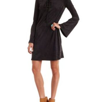 Black Faux Suede Bell Sleeve Lace-Up Shift Dress by Charlotte Russe
