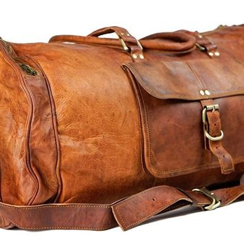 IN-INDIA Pure Light-weight Vintage Leather 22 inch Duffel Carry Portable Bag