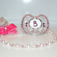 Swarovski Pacifier Clip SET with Swarovski Crystal and Pearl.Bling Baby Giirl/Boy.