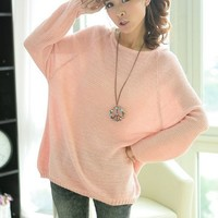 Loose Bat Sleeve Hollow Sweater Pnik