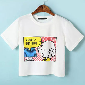 White Cartoon Print Short Sleeve Cropped Graphic T-Shirt