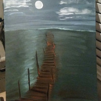 Hand painted wood framed canvas - Night at the lake