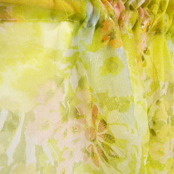 Retro Mid-Century Sheer Curtain Fabric Flocked Flowers Panel - Mad Men Madmen - Lime Pink Aqua Yellow - Watercolors - 1960's Cool & Cheerful