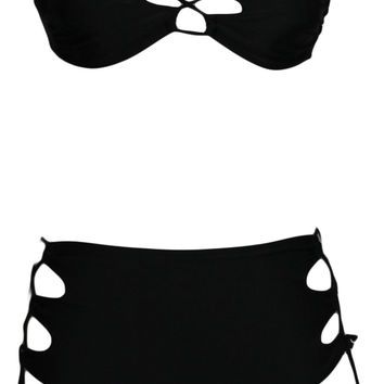 Black Strapless High Waist Bikini with Tie String Cut-Out Detail