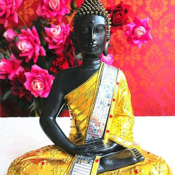 Southeast Asian style gilt statues glass paste thing opened Lucky Hannaford help Thai Buddha gifts Decoration