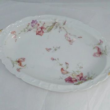 Antique Limoges Porcelain China Dish - Theodore Haviland, France, Oval, Scalloped Edges, Pink Floral Pattern