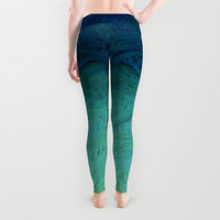 Lady's leggings Active wear Casual wear Stretchable leggings Abstract pattern Arbitrary curves From teal to dark blue