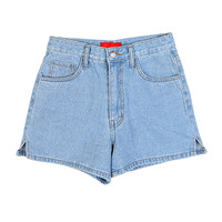 Basic Blue Denim Shorts with Side Slits