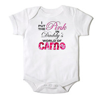 I Put the Pink in Daddy's World of Camo Baby Girl Hunting Onesuit Bodysuit