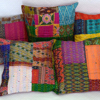 Set Of 5 Pillow Cover, Silk Kantha Decorative Throw Pillow, Sari Kantha Pillow, Indian Patchwork Pillow, Bohemian Pillows, Ethnic Kantha