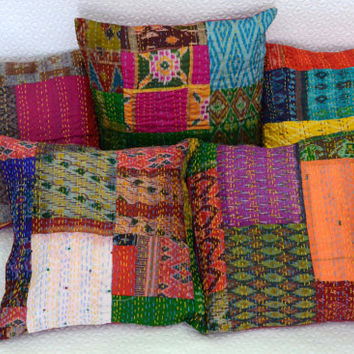 Best Kantha Pillow Products On Wanelo New Indian Silk Decorative Pillows