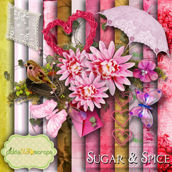 Sugar & Spice - Digital Scrapbook Kit - Printable Backgrounds - 12x12 inch Papers - FREE Quickpage Layout