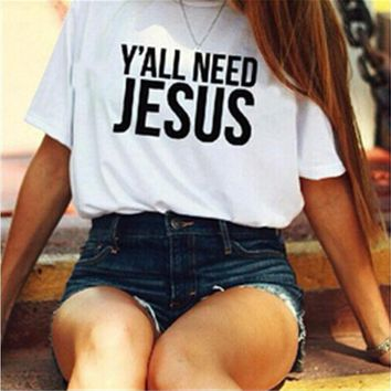 """White """"Y'ALL NEED JESUS"""" Letter Print T-Shirt"""
