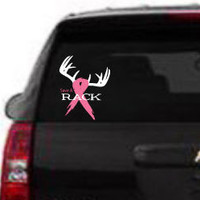 Save A Rack Breast Cancer Awareness Car Truck Vehicle Decal Hunters Supporting Breast Cancer Awareness Month Pink Ribbon & Antlers