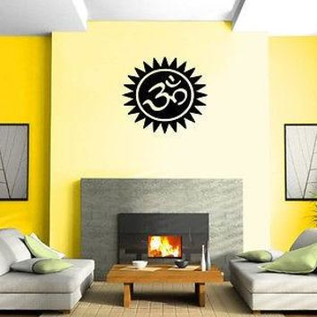 Yoga Symbol Om Sun Circle Spiritual Sanskrit Wall Mural Vinyl Art Sticker Unique Gift M533